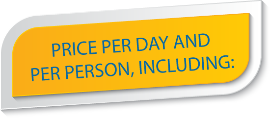 Price per day and per person, including: